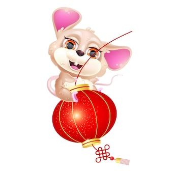 Souris mignonne, personnage de vecteur de dessin animé kawaii lanterne. signe du zodiaque asiatique.