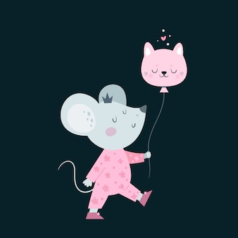 Souris mignonne petite souris bébé avec ballon.