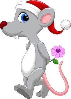 Souris mignonne portant un chapeau de noël tenant une fleur