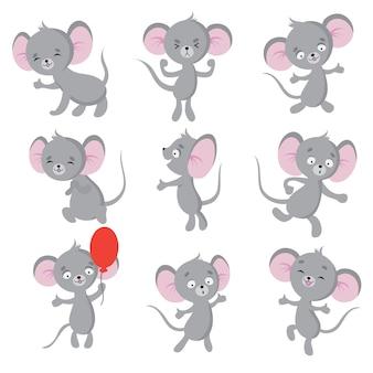 Souris mignonne souris de bande dessinée dans la maison. personnages isolés