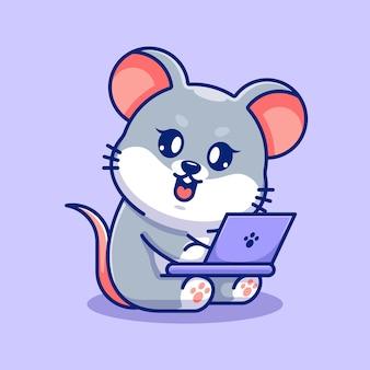 Souris mignonne travaillant sur un dessin animé d'ordinateur portable