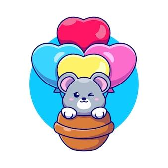 Souris mignonne volant avec dessin animé ballon d'amour