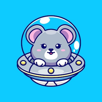Souris mignonne volant avec dessin animé ovni vaisseau spatial