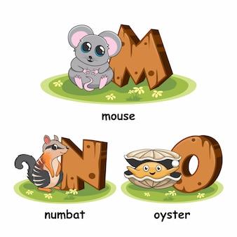 Souris numbat oyster wood animaux alphabet