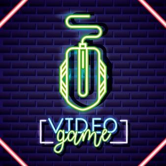 Souris, style linéaire néon de jeu vidéo