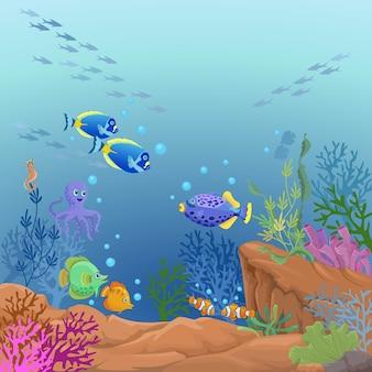 Sous la conception de vecteur de vie de mer.