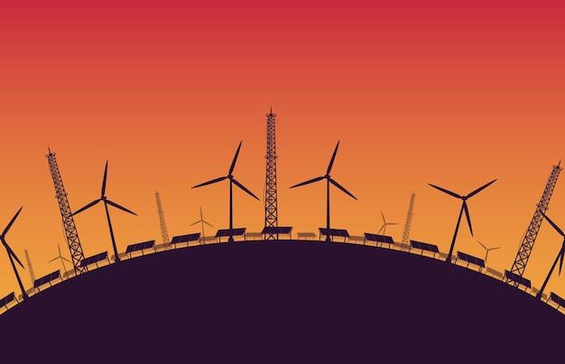 Sous-construction de silhouette ferme éolienne offshore en mer sur fond dégradé orange