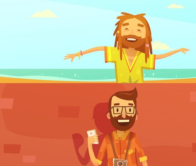 Sous-cultures horizontale fond dessin animé sertie d'illustration vectorielle isolé hipster et rastafari