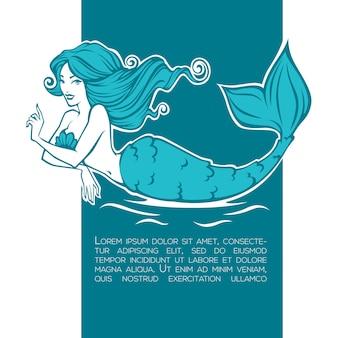 Sous l'eau belle sirène, image de dessin animé de fille pour votre étiquette, emblème, flyer