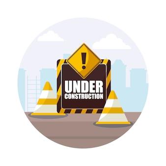Sous étiquette de construction avec des cônes