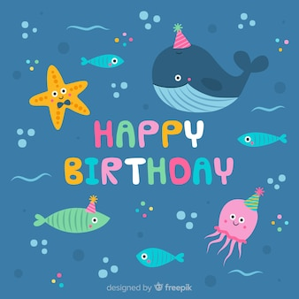 Sous le fond d'anniversaire de la mer