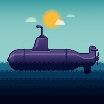 Sous-marin dans la mer