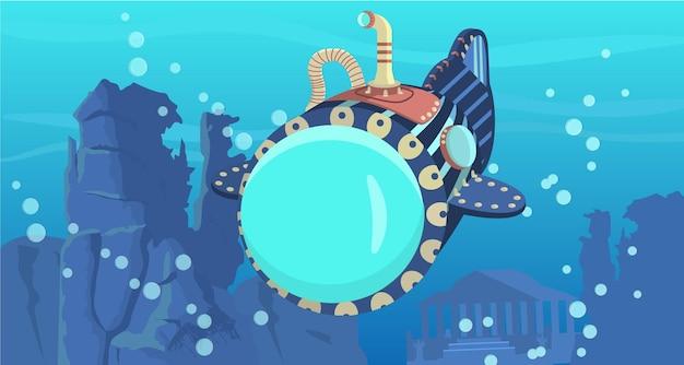 Sous-marin flottant sous l'eau avec ville engloutie et rochers sur l'arrière-plan