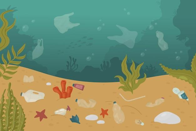 Sous-marin pollué sous-marin océan mer paysage sale problème d'écologie de la pollution marine