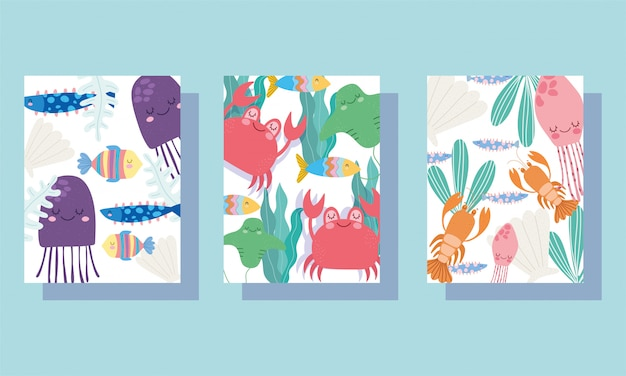 Sous la mer, large paysage de la vie marine dessin animé méduses crabes homard bannière bannière et brochure