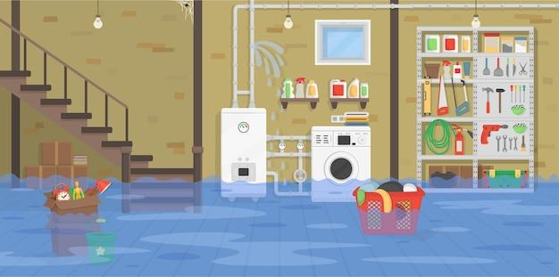 Sous-sol intérieur inondé avec chaudière