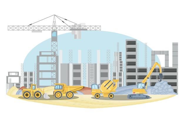 Sous la zone de construction avec des camions de construction