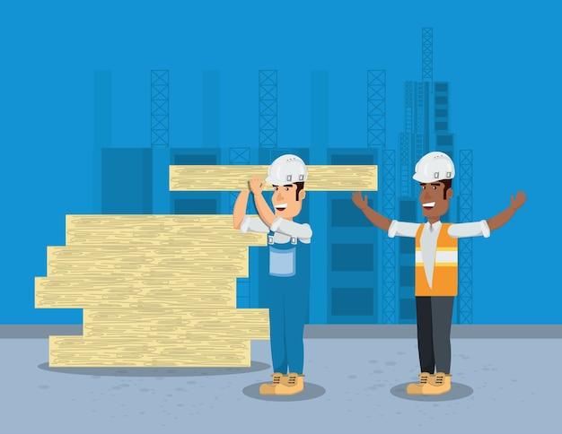 Sous zone de construction avec des constructeurs avec des planches de bois