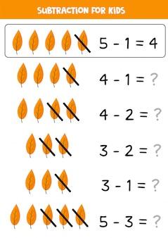 Soustraction avec de jolies feuilles d'automne. jeu de mathématiques pour les enfants.