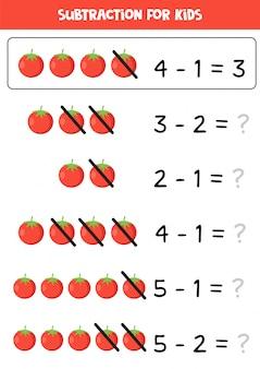Soustraction pour les enfants avec une tomate rouge de dessin animé mignon.
