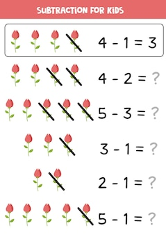 Soustraction avec rose rouge. jeu de mathématiques éducatif pour les enfants.