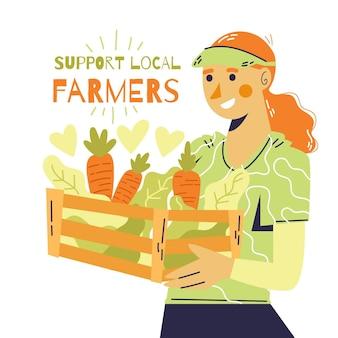 Soutenir le concept d'illustration des agriculteurs locaux