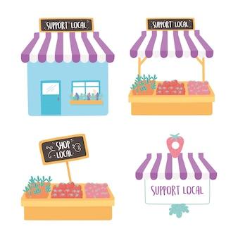 Soutenir les entreprises locales, acheter un petit marché, construire des icônes de magasin de produits agricoles