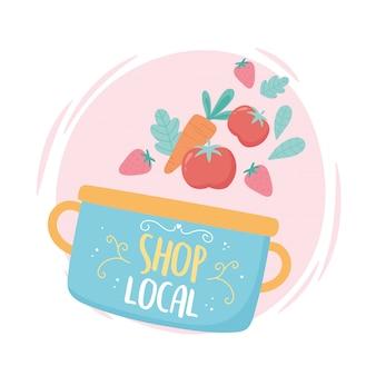 Soutenir les entreprises locales, acheter une petite marmite de marché avec des fruits et légumes
