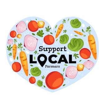 Soutenir l'illustration du concept des agriculteurs locaux