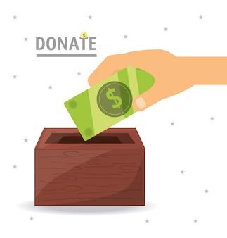Soutien de dons en argent comptant à la charité du peuple
