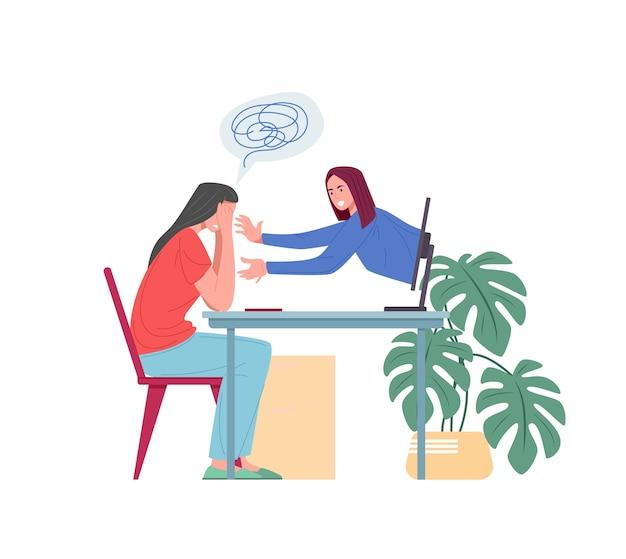 Soutien psychologique en ligne pour patiente de personnage de dessin animé avec ordinateur portable