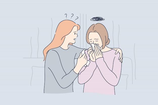 Soutien, stress mental, dépression, frustration, concept de pleurs