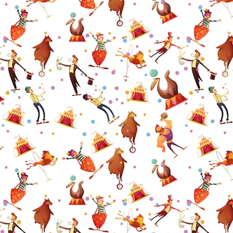 Souvenir de dessin animé rétro drôle sans soudure cirque présente un modèle de papier d'emballage avec illustration vectorielle de sceau ion magicien et clown