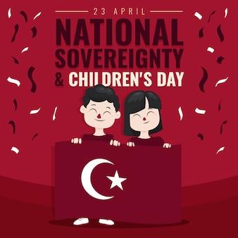Souveraineté nationale et journée des enfants et confettis