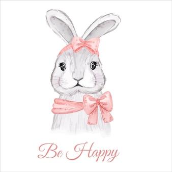 Soyez la carte heureuse avec le lapin de pâques aquarelle