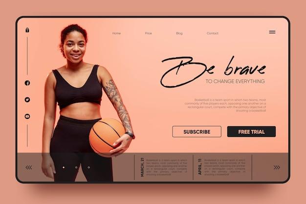 Soyez courageux page de destination de basket