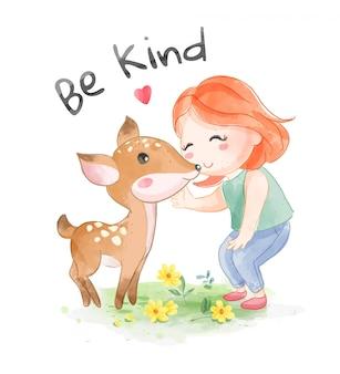 Soyez gentil slogan avec cartoon girl avec little deer illustration