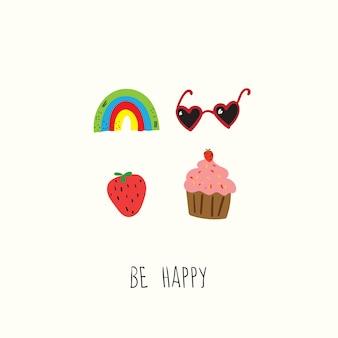 Soyez heureux, bonne chance, doodle dessinés à la main, logo pré-fait en style cartoon et design plat