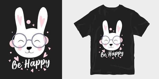 Soyez heureux avec sourire affiche de conception de t-shirt visage de lapin mignon