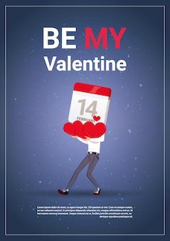 Soyez mon bannière de la saint-valentin avec espace de copie, calendrier de tenue d'homme et coeurs 14 février concept de vacances