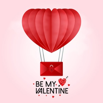 Soyez mon valentin avec des coeurs montgolfière