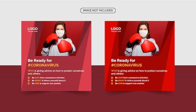 Soyez prêt pour le modèle de bannière sociale de coronavirus
