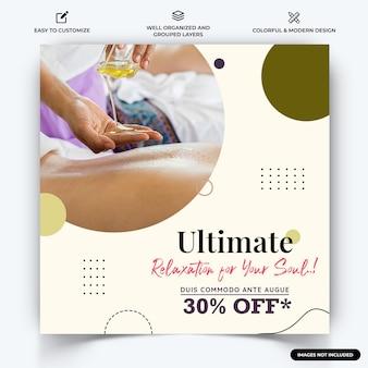 Spa and beauty instagram post web banner template vecteur vecteur premium