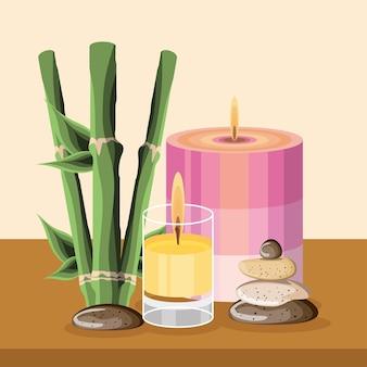 Spa bougies en bambou pierres