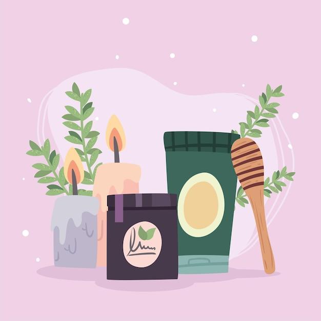 Spa centre bougies bâton de miel et pots avec des feuilles