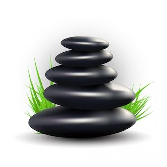 Spa avec pierres zen et herbe