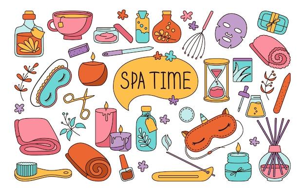 Spa et salon de beauté doodle ensemble coloré soins de la peau et traitement naturel me concept de temps