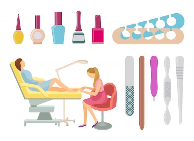 Spa salon pédicure procédures icons set vector