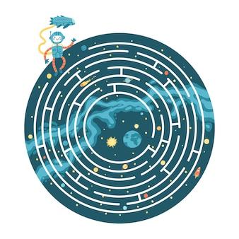 Space educational maze puzzle games, adapté aux jeux, impression de livres, applications, éducation. aidez l'astronaute à retourner sur la planète terre. illustration de dessin animé simple drôle sur fond sombre