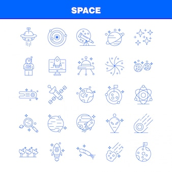 Space line icons set pour infographie, kit ux / ui mobile